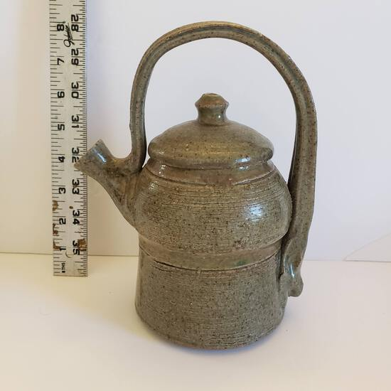 Glazed Pottery Teapot with Lid