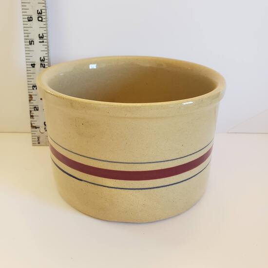 Robinson Ransbottom Glazed Stoneware Pottery Crock with Burgundy and Blue Bands