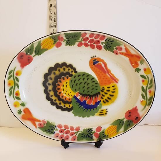 Vintage Painted Enamelware Turkey Platter