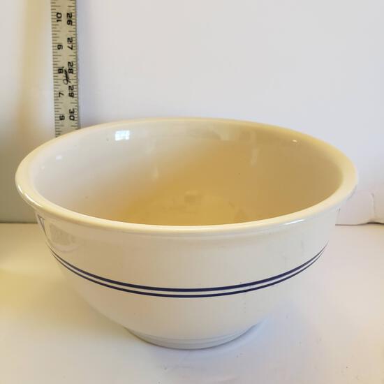 Gibson Blue Stripe Stoneware Mixing Bowl