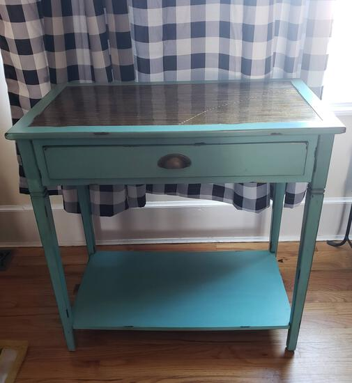 Wood Turquoise Tone Console Table with Glass Top & Distressed Look