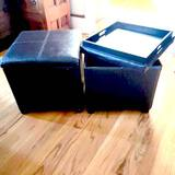 Pair of Brown Leather Storage Ottomans with Flip Top Trays