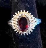 Sterling Silver Ring with Garnet Colored Stone