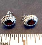 Sterling Silver Earrings with Garnet Colored Stones