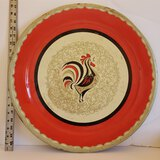 Vintage Large Rooster Tin Style Plate