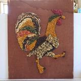 Vintage Rooster Bean Art