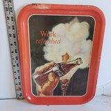 "Vintage Coca Cola ""Work Refreshed"" Metal Tray"