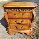 3 Drawer Oak Finish Nightstand