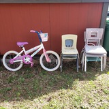 Girls Bicycle and Child's Chairs