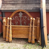 Queen Size Bed, Oak Finish with Metal Scrollwork , Headboard, Footboard, Rails, Support, Finials