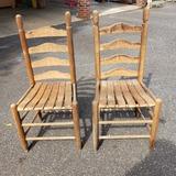 Pair of Vintage Wood Ladder Back Chairs