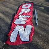 Huge Open Hot Pink/Black/White Windless Feather Flag and Pole