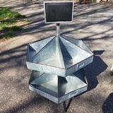 Galvanized Metal Rotating Hardware/Organizing Bin with Chalkboard Header