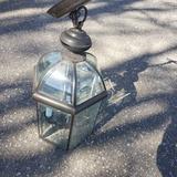 Bronze Tone Glass and Metal Hanging Light Fixture
