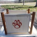 Vintage Clemson Tigers Paw Print Wood and Canvas Magazine Rack