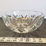 Vintage Crystal Bowl Val St. Lambert Etched Signature, Starburst