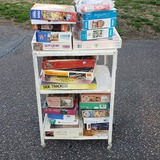 Vintage Metal Rolling Cart Loaded with Puzzles