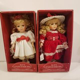 Lot of 2 New in Box Fine Bisque Porcelain Dolls by Soft Expressions