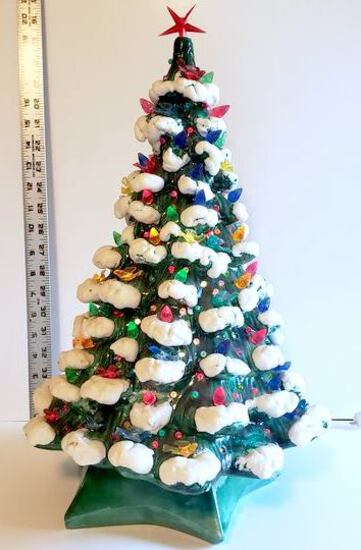 Gorgeous Almost Perfect Vintage Ceramic Tree and Base by Holland Mold with Bird Light Bulbs