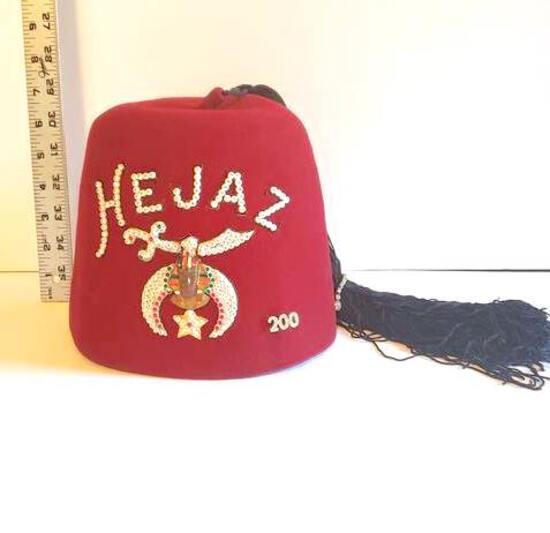 Hejaz Shriners Vintage Iconic Burgundy Wool Fez Hat
