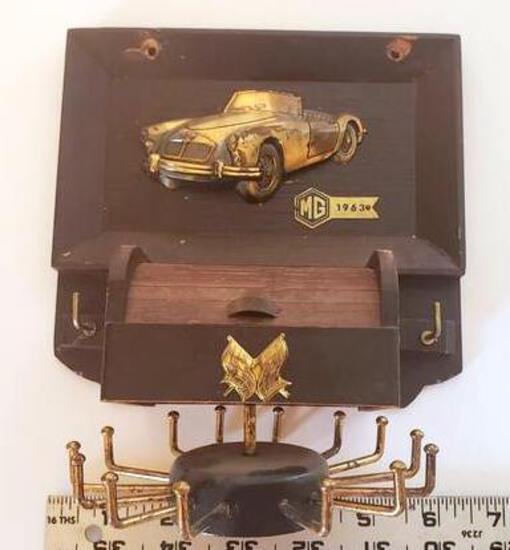 Unique Vintage Tie and Belt Rack with Small Drawer Featuring 1963 MG
