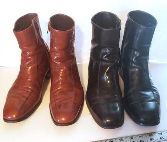 Lot of 2 Pair Men's Zip Up Ankle Boots by The Florsheim Company, Brown, Black