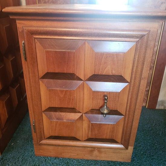 Mid Century Modern Custom Well Made Wood Nightstand with Shelf, Cube Design