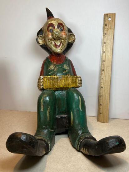 Vintage Wooden Carved Clown Statue