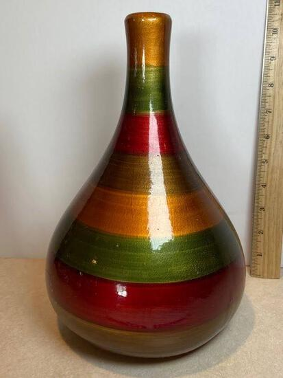 Multi-Colored Striped Ceramic Vase