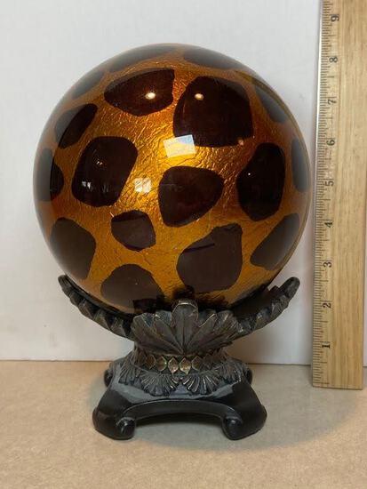 Decorative Cheetah Print Glass Ball on Molded Resin Base