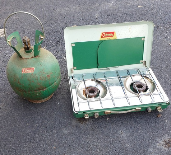 Vintage Coleman LP Gas Camp Stove, Coleman Tank with Carrying Handle