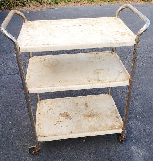 Vintage Rolling Metal 3 Tier Cart
