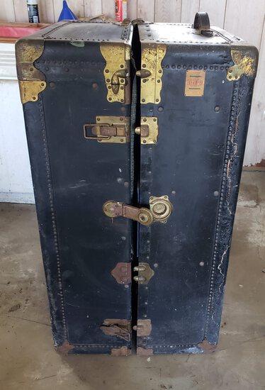 Antique Everwear Steamer Wardrobe Chest Trunk, Brass Trim, Blue Interior