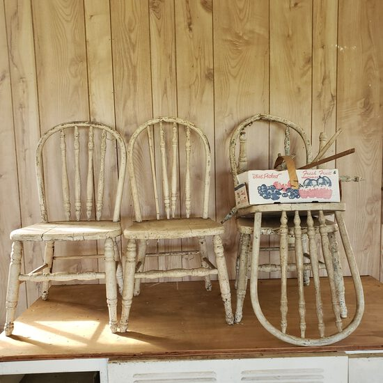 Set of 4 Vintage Chippy Childs Wood Spindle Back Chairs