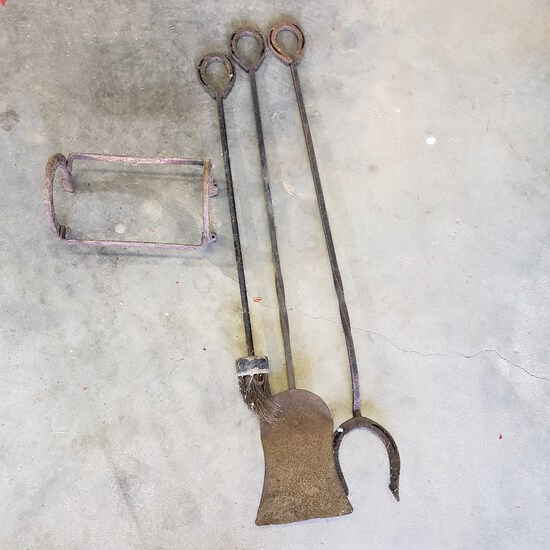 Vintage Horse Shoe Rack and Fireplace Tools with Horseshoe Ends