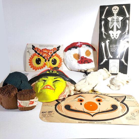 Lot of Vintage Halloween Items, Masks, Skeleton, More