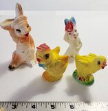 Vintage Small Chalkware Easter Figurines, Rabbits and Chicks