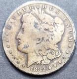 1882 Morgan Silver Dollar Coin, Carson City
