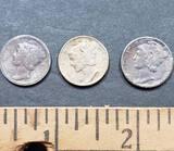 Lot of 3 Mercury Silver Dimes