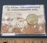 Anzac 75th Anniversary $5 Commemorative Coin, Uncirculated, Royal Australian Mint