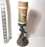 Ornate Meriden Antique Victorian 5063 Cherub Mantle Piece with Milk Glass Cylinder Top