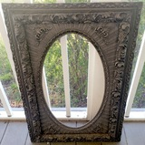 Antique Ornate Wood Frame with Oval Cutout