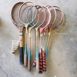 Lot of Vintage Badminton Rackets and Birdies, 1 Tennis Racket