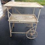 Antique Collapsible Tea Cart/Server, Wood and Metal Art Deco
