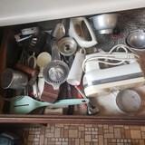 Drawer Lot of Vintage Kitchen Utensils, including Kitchen Aid Hand Mixer