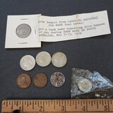 Odd Lot of Coins, 3 Wheat Pennies, 3 1940 Nickels, Uncirculated 1972 Dime, Free Coin From Bank
