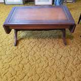 Mid Century Mahogany, Leather Top, Drop Leaf Coffee Table with Brass Feet