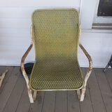 Vintage Metal and Woven Patio Chair
