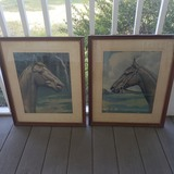 Lot of 2 Vintage Framed Horse Prints By Morris