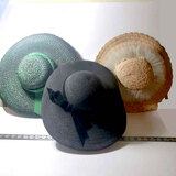 Lot of 3 Vintage Ladies Hats, Some Hat Pins